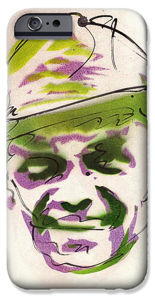 Frank Sinatra Paintings iPhone Cases - Portrait of Frank Sinatra iPhone Case by Ryan  Hopkins