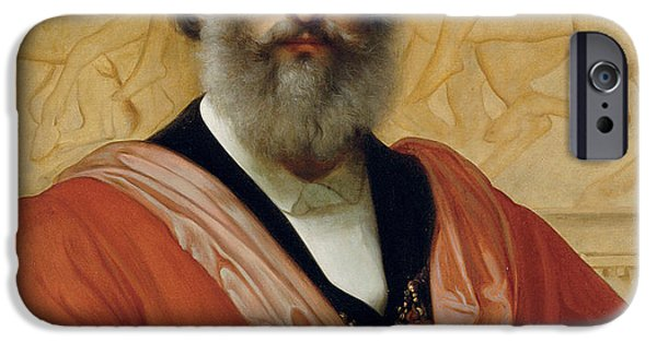 ist Self Portrait Paintings iPhone Cases - Portrait of Frederic Leighton iPhone Case by Paolo Fossi