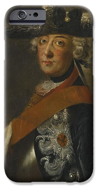 The Followers Paintings iPhone Cases - Portrait Of Frederick The Great Of Prussia iPhone Case by Follower of Antoine Pesne