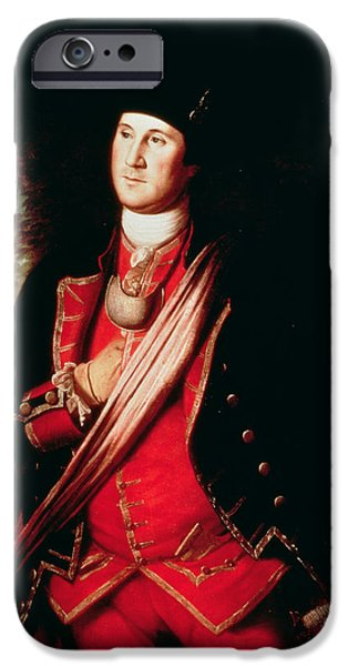 Revolutionary War iPhone Cases - Portrait of George Washington iPhone Case by Charles Willson Peale