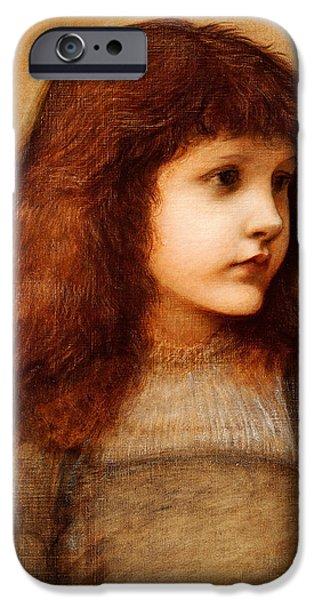 Little Girl iPhone Cases - Portrait of Gertie Lewis iPhone Case by Edward Burne-Jones