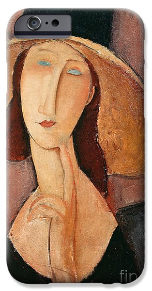 Abstractions iPhone Cases - Portrait of Jeanne Hebuterne in a large hat iPhone Case by Amedeo Modigliani