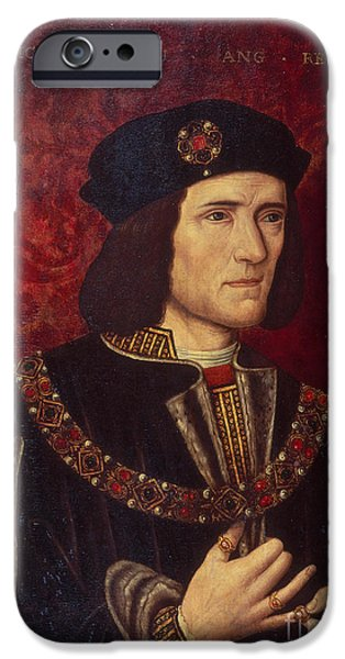 Ruler iPhone Cases - Portrait of King Richard III iPhone Case by English School