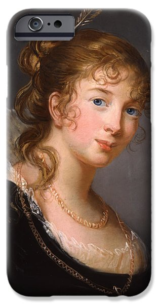Blue Pastels iPhone Cases - Portrait of Louisa Princess Radziwill  iPhone Case by Elisabeth Louise Vigee-Lebrun