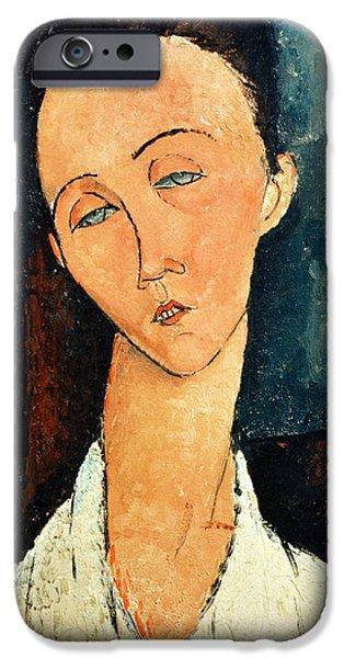 Portrait iPhone Cases - Portrait of Lunia Czechowska iPhone Case by Amedeo Modigliani