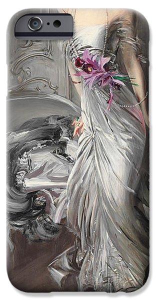 Madame iPhone Cases - Portrait of Madame Eugene Doyen iPhone Case by Giovanni Boldini