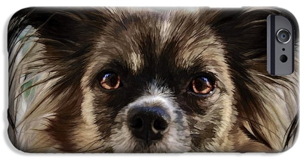 Dog Close-up iPhone Cases - Portrait of Papillion iPhone Case by Alexey Bazhan