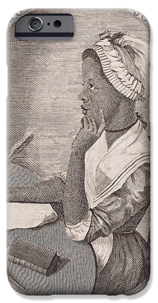 First Lady Portrait Drawings iPhone Cases - Portrait of Phillis Wheatley iPhone Case by American School