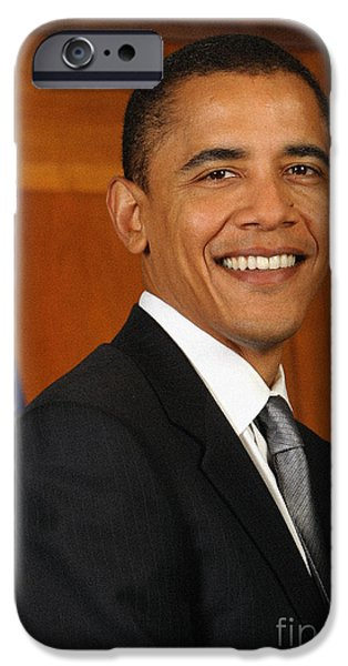 Barack Obama iPhone Cases - Portrait of President Barack Obama iPhone Case by Celestial Images