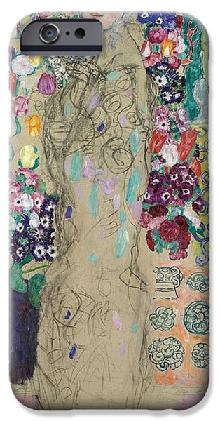 Pastel iPhone Cases - Portrait of Ria Munk III iPhone Case by Gustav Klimt