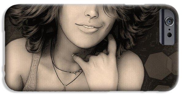 3d Graphic iPhone Cases - Portrait of Rose iPhone Case by Jutta Maria Pusl