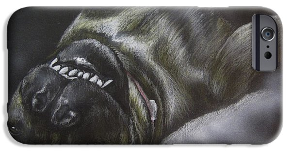 Airbrush Drawings iPhone Cases - Portrait of Roxi iPhone Case by Jonathan Anderson