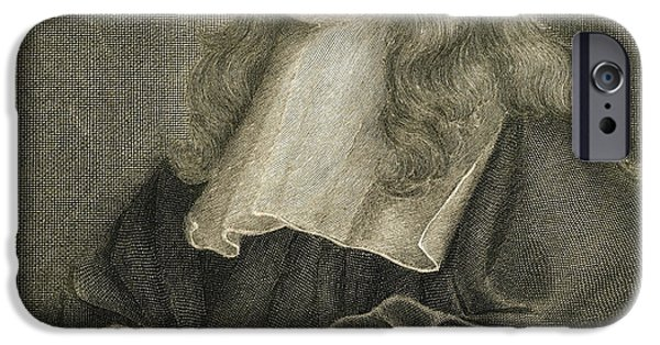 Fame Drawings iPhone Cases - Portrait of Sir Isaac Newton iPhone Case by Sir Peter Lely