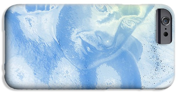 Blue Abstracts iPhone Cases - Portrait of the Artist with Halo iPhone Case by Stephen  Killeen