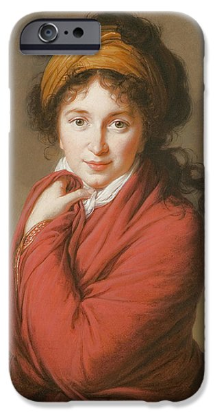 Aristocrat iPhone Cases - Portrait of the Countess Nikolai Nikolaevich Golovin iPhone Case by Elisabeth Louise Vigee-Lebrun
