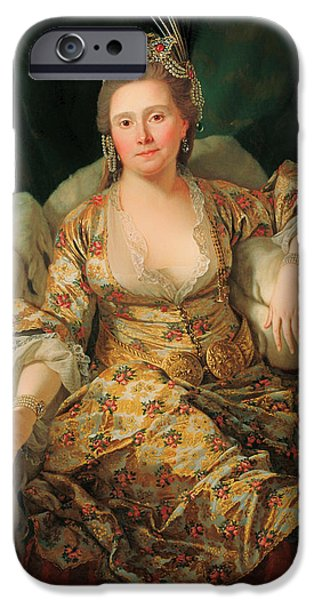 Countess iPhone Cases - Portrait of the Countess of Vergennes in Turkish Gown iPhone Case by Antoine de Favray