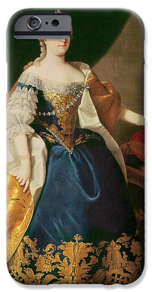 Roman Emperor iPhone Cases - Portrait of the Empress Maria Theresa of Austria iPhone Case by Martin Mytens or Meytens