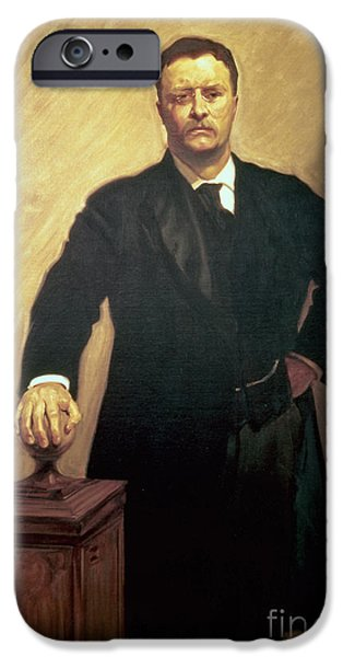 1856 iPhone Cases - Portrait of Theodore Roosevelt iPhone Case by John Singer Sargent