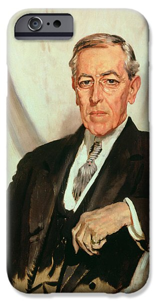 Politics iPhone Cases - Portrait of Woodrow Wilson iPhone Case by Sir William Orpen
