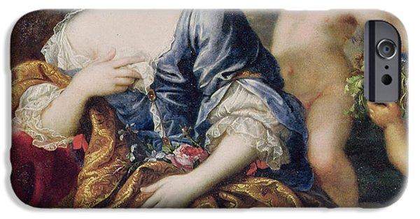 Angel Blues iPhone Cases - Portrait presumed to be Francoise-Athenais de Rochechouart de Mortemart iPhone Case by Pierre Mignard