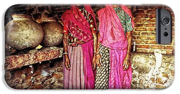 Facade iPhone Cases - Portrait Sisters Village Elders Seniors Indian Rajasthani 1 iPhone Case by Sue Jacobi
