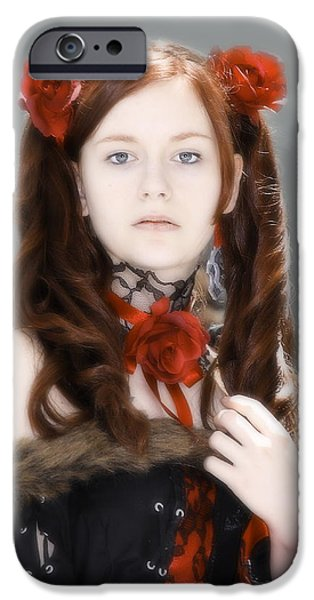Photographs With Red. iPhone Cases - Portrait with Red Roses iPhone Case by Viktor Savchenko