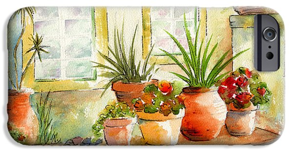 Terra Paintings iPhone Cases - Portuguese Planters iPhone Case by Pat Katz