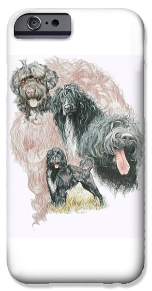 Animal Drawings iPhone Cases - Portuguese Water Dog w/Ghost iPhone Case by Barbara Keith
