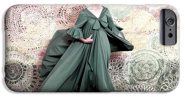 Ball Gown Photographs iPhone Cases - Pose Against A Mural Of Swirling Roses iPhone Case by Conde Nast