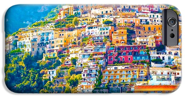 Village iPhone Cases - Positano in the Mid Day Light iPhone Case by Olivia Bonham