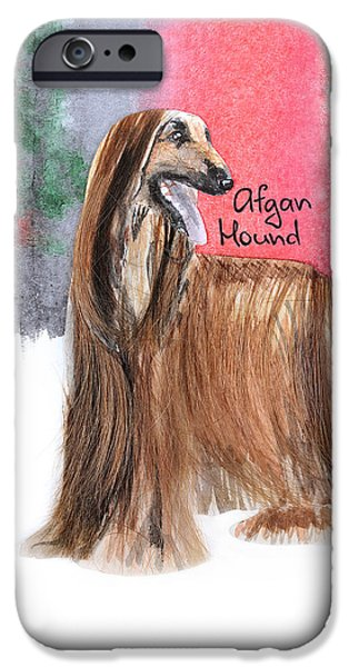 Cute Puppy iPhone Cases - Watercolor postcard Dogs Afgan Hound iPhone Case by Maryna Lievshyna
