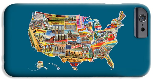 Postcard iPhone Cases - Postcards Of The United States Vintage USA All 50 States Map iPhone Case by Design Turnpike