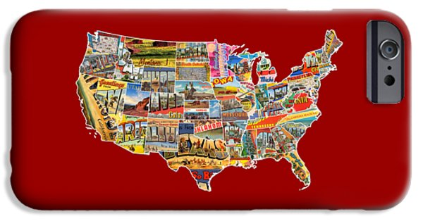 Postcard iPhone Cases - Postcards of the United States Vintage USA Lower 48 Map Choose Your Own Background iPhone Case by Design Turnpike