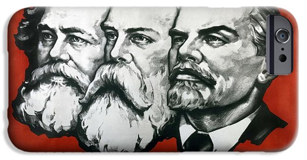 Politics iPhone Cases - Poster depicting Karl Marx Friedrich Engels and Lenin iPhone Case by Unknown