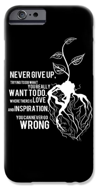 Graphic Design Tapestries - Textiles iPhone Cases - Poster Motivational  Never Give Up iPhone Case by BestCit Art