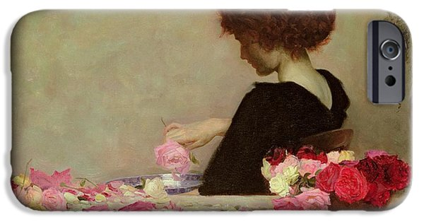 Young Girl iPhone Cases - Pot Pourri iPhone Case by Herbert James Draper