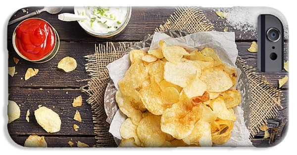 Chip iPhone Cases - Potato chips with dipping sauces on a rustic table iPhone Case by Sara Winter