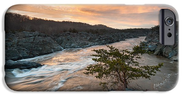 Fall iPhone Cases - Potomac River Mather Gorge Great Falls Sunrise iPhone Case by Mark VanDyke