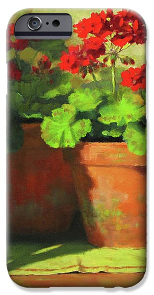 Red Geraniums iPhone Cases - Potted Geraniums iPhone Case by Linda Jacobus