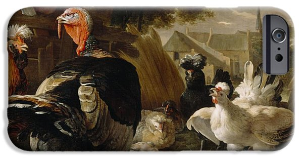 Young Turkey iPhone Cases - Poultry Yard iPhone Case by Melchior de Hondecoeter