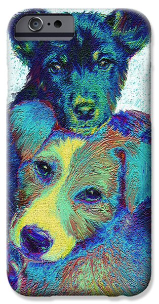 Best Sellers -  - Puppy Digital iPhone Cases - Pound Puppies iPhone Case by Jane Schnetlage
