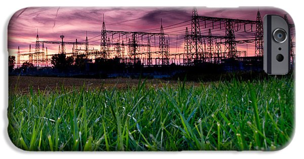 Power iPhone Cases - Power Lines Sunset iPhone Case by Cale Best