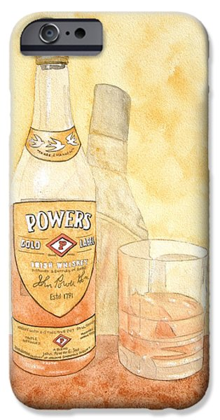 Food And Beverage Paintings iPhone Cases - Powers Irish Whiskey iPhone Case by Ken Powers