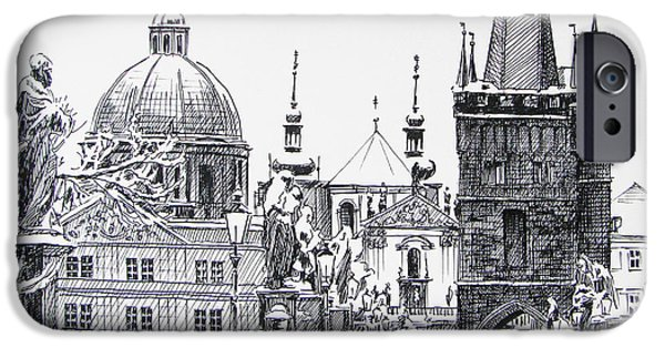 Pen And Ink iPhone Cases - Prague iPhone Case by Angelina Sofronova