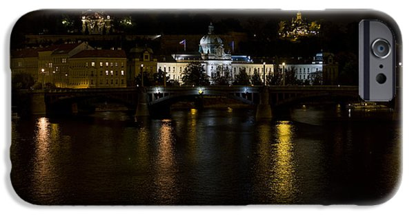 Built Structure iPhone Cases - Prague at night iPhone Case by Chris Smith