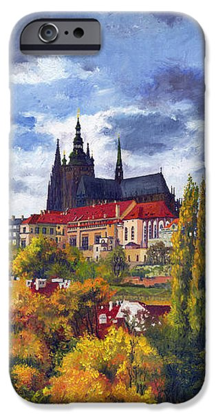 Town iPhone Cases - Prague Castle with the Vltava River iPhone Case by Yuriy  Shevchuk