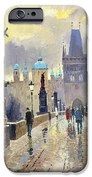 Oil On Canvas iPhone Cases - Prague Charles Bridge 02 iPhone Case by Yuriy  Shevchuk