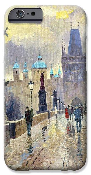 Streetscape Paintings iPhone Cases - Prague Charles Bridge 02 iPhone Case by Yuriy  Shevchuk