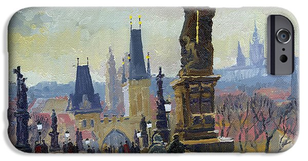 Oil On Canvas iPhone Cases - Prague Charles Bridge 04 iPhone Case by Yuriy  Shevchuk