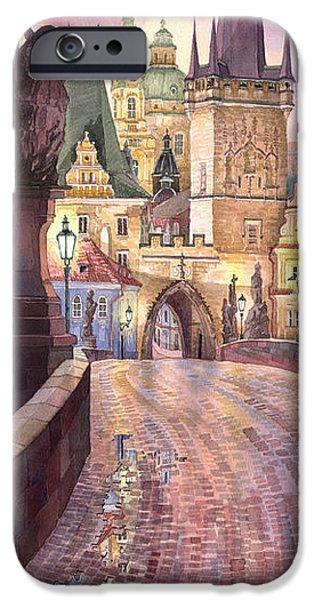 Europa iPhone Cases - Prague Charles Bridge Night Light 1 iPhone Case by Yuriy  Shevchuk
